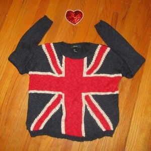 FOREVER 21 sweater Union Jack super soft size M